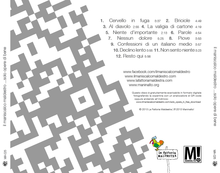 """Il Maniscalco Maldestro """"…solo opere di bene"""" – album artwork"""